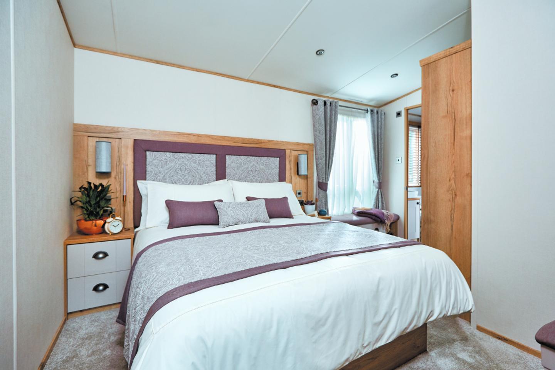 The master bedroom in a Platinum caravan