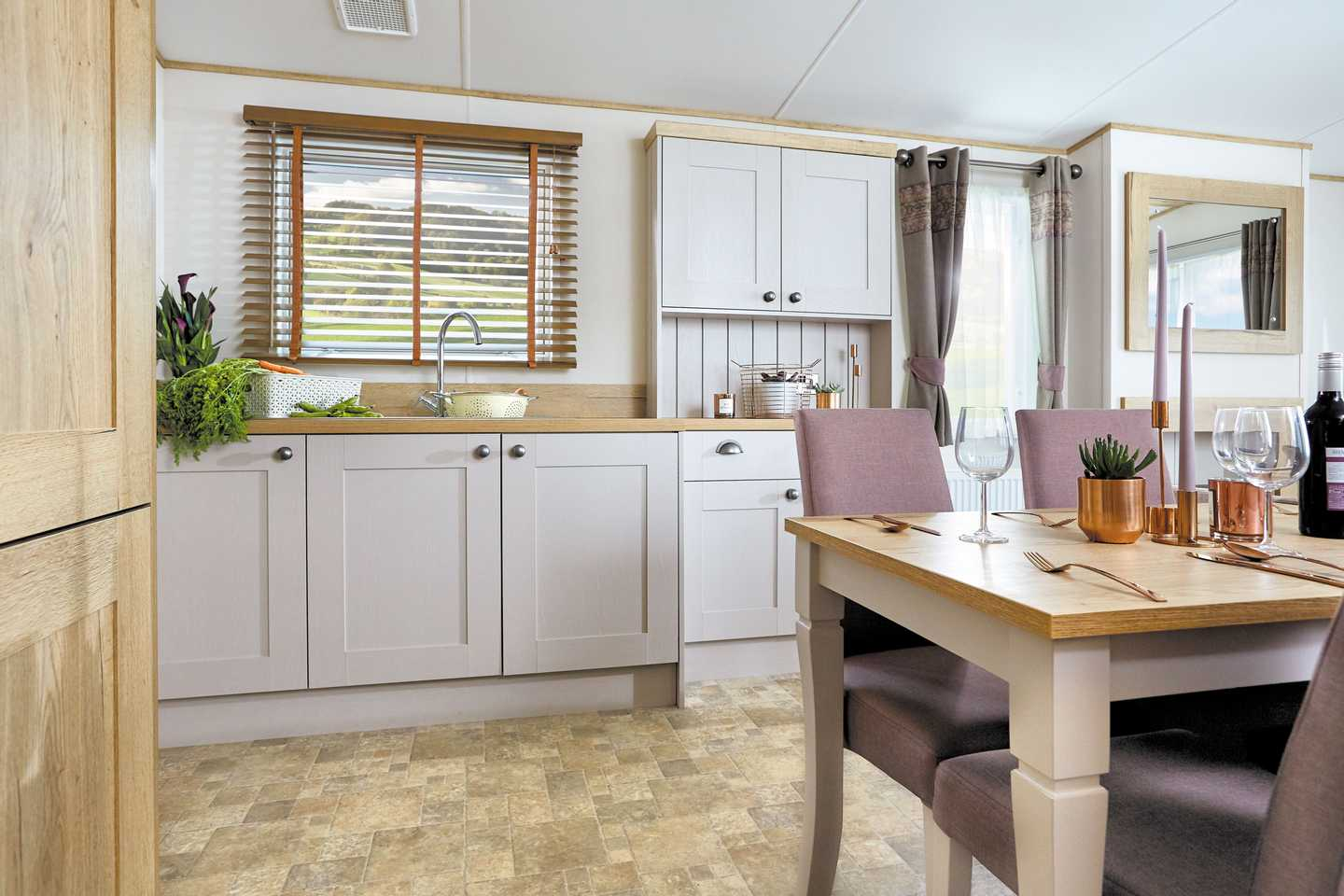 An example of the kitchen in a Platinum with Decking caravan