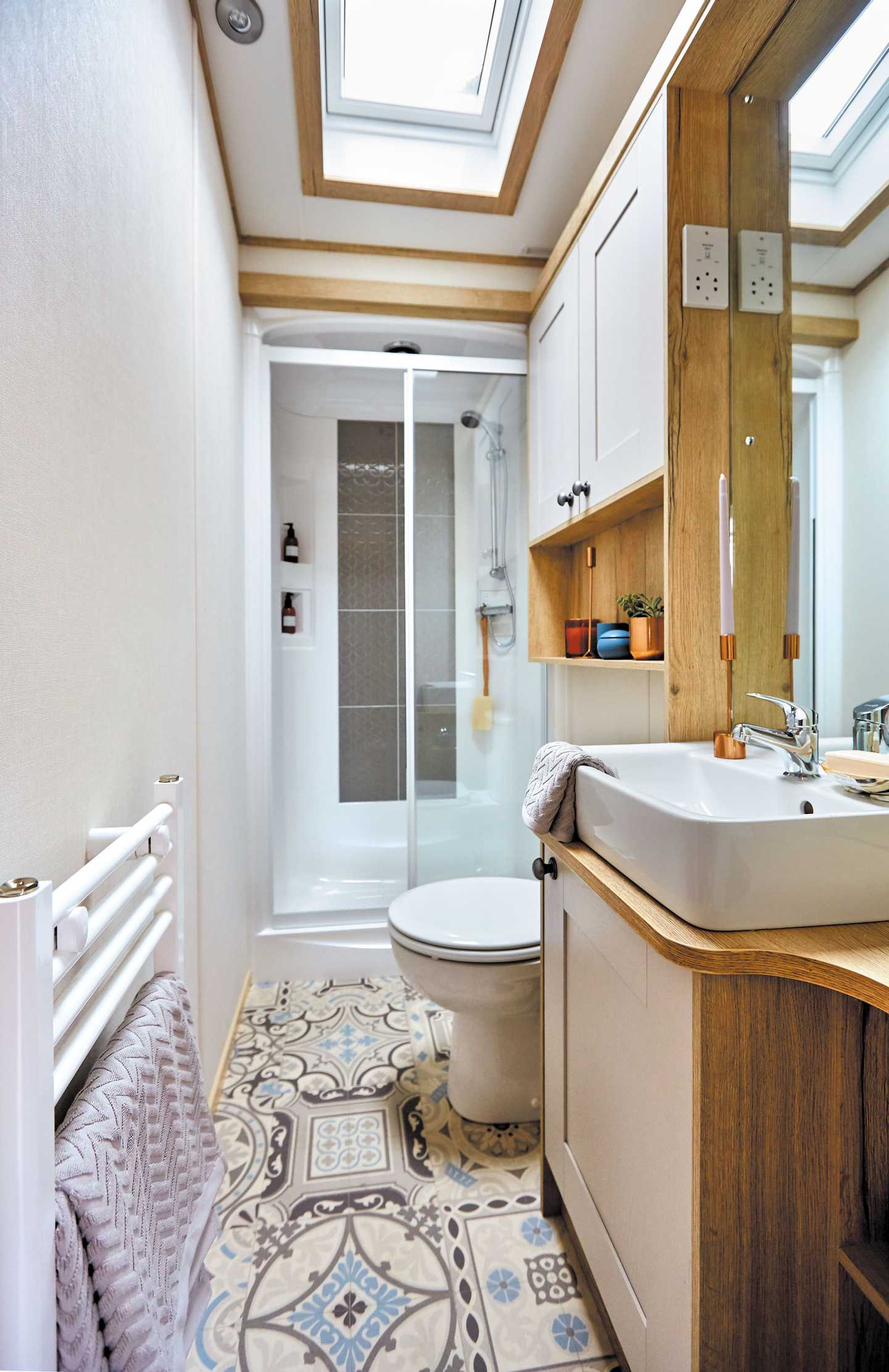 An example of the bathroom in a Platinum with Decking caravan
