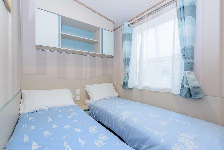 An example of the twin bedroom in a Prestige caravan