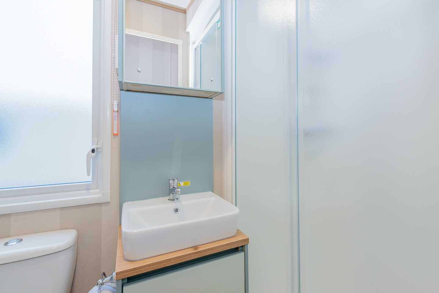 An example of the bathroom in a Prestige caravan