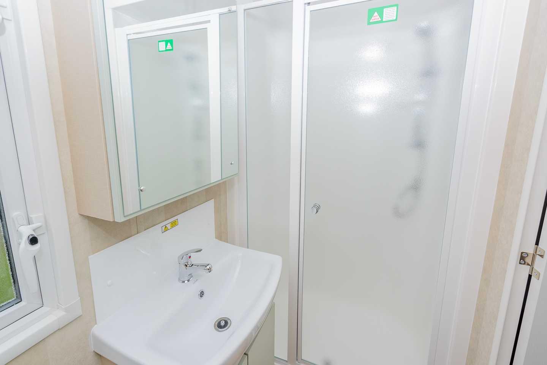 An example of the bathroom in a Prestige caravan