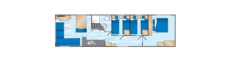 An example of a Standard 3 bedroom caravan floorplan