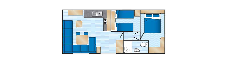 An example of a Deluxe 2 bedroom caravan floor plan