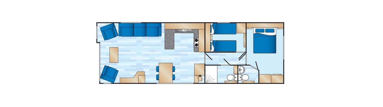 An example of a Prestige 2 bedroom caravan floor plan