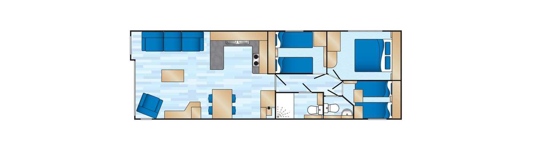 An example of a Prestige 3 bedroom caravan floor plan