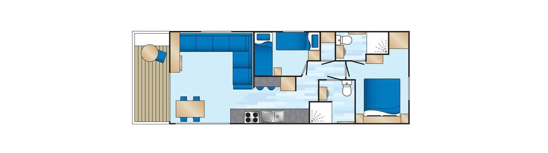 An example of a Platinum 2 bedroom caravan floor plan