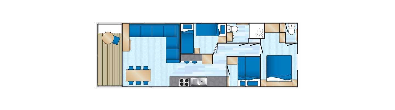 An example of a Platinum 3 bedroom caravan floor plan