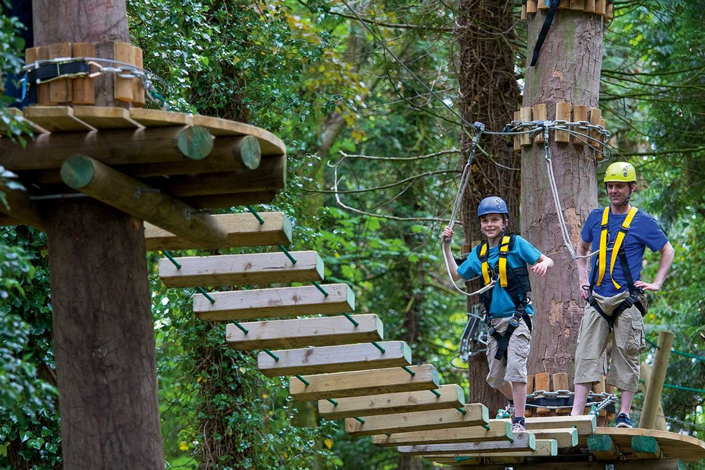 Guests crossing the rope bridge on the aerial adventure course