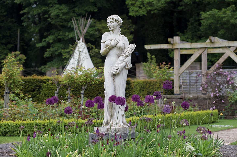 A statue in the Italian Gardens at Haggerston Castle