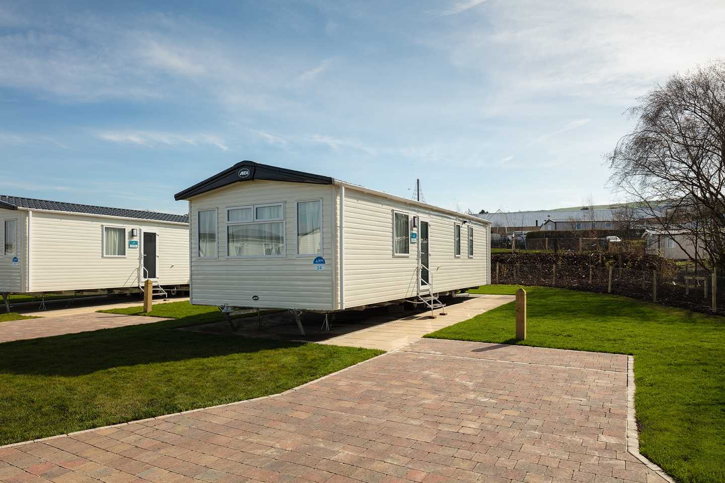 Prestige caravan with parking space beside