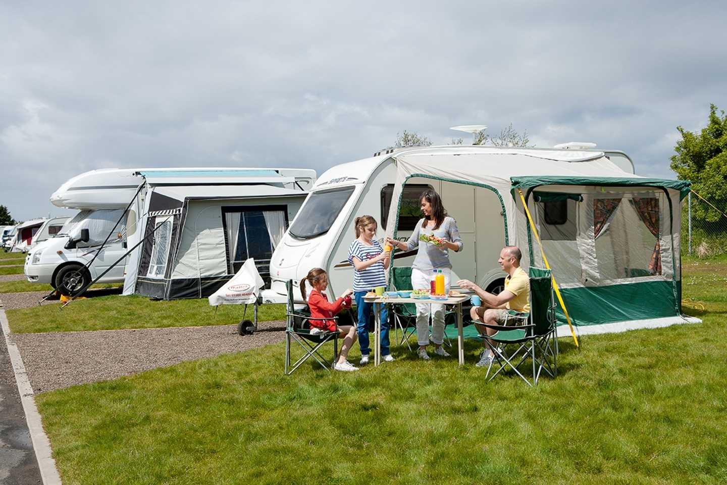The motor homes in the touring area at Craig Tara