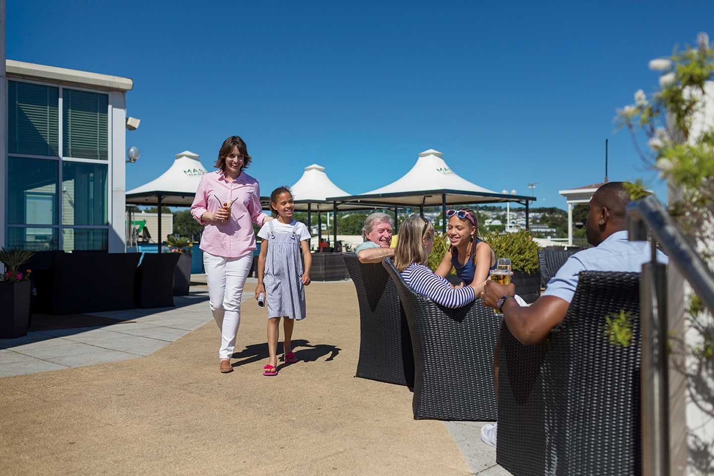 Relax with a drink on the Mash and Barrel terrace area