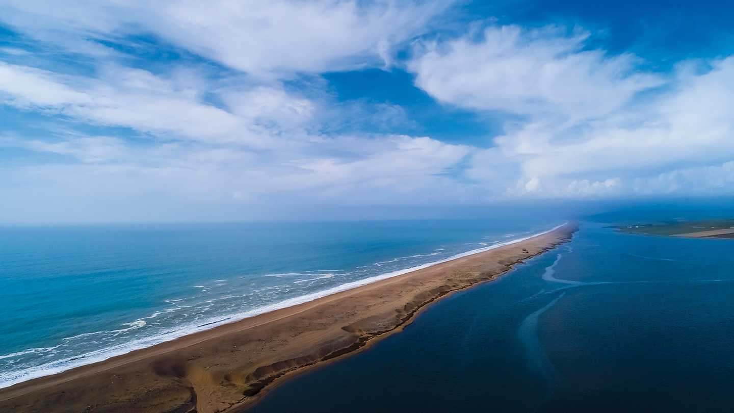 Aerial view of Chesil Beach