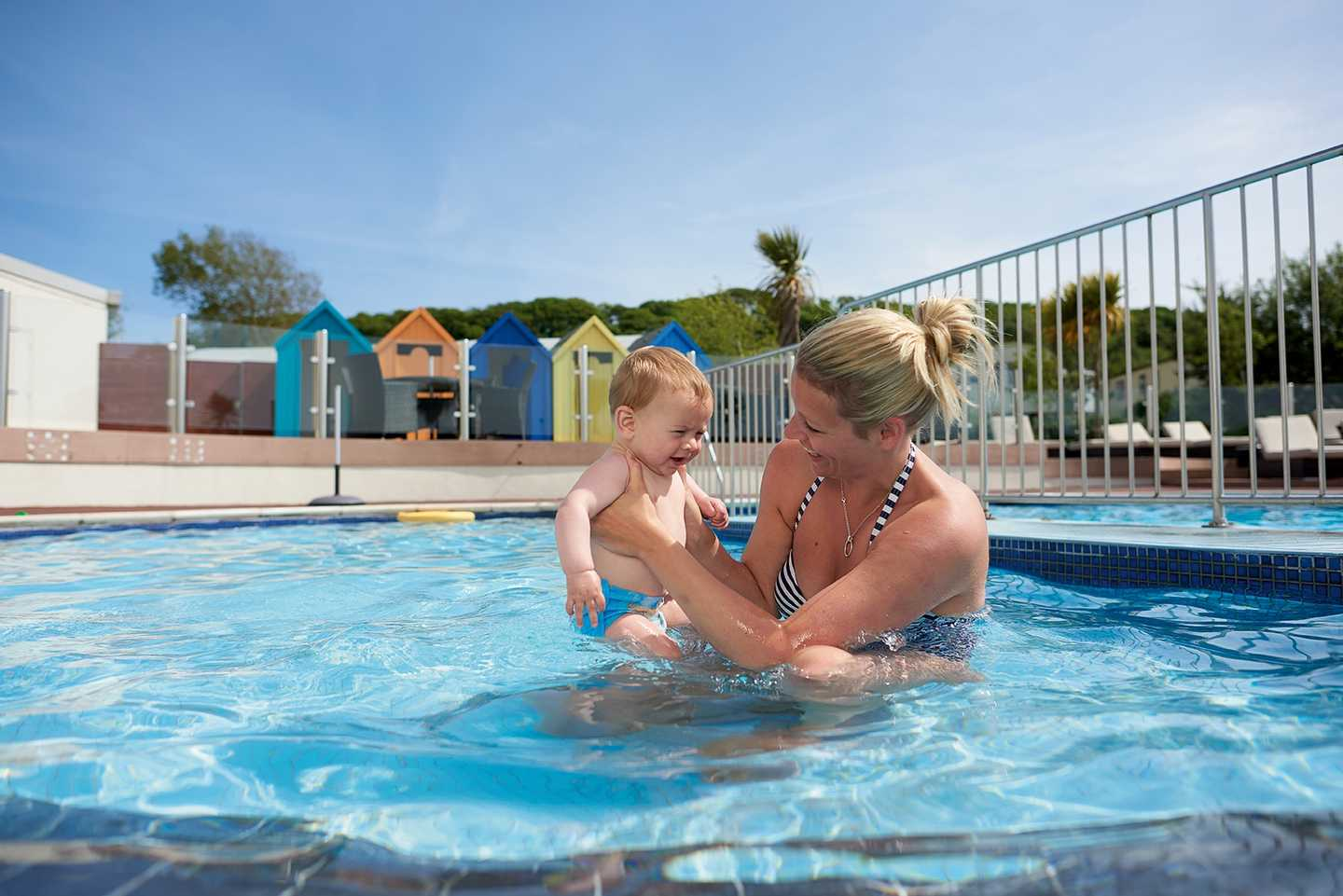 Guests playing in the outdoor pool at Littlesea