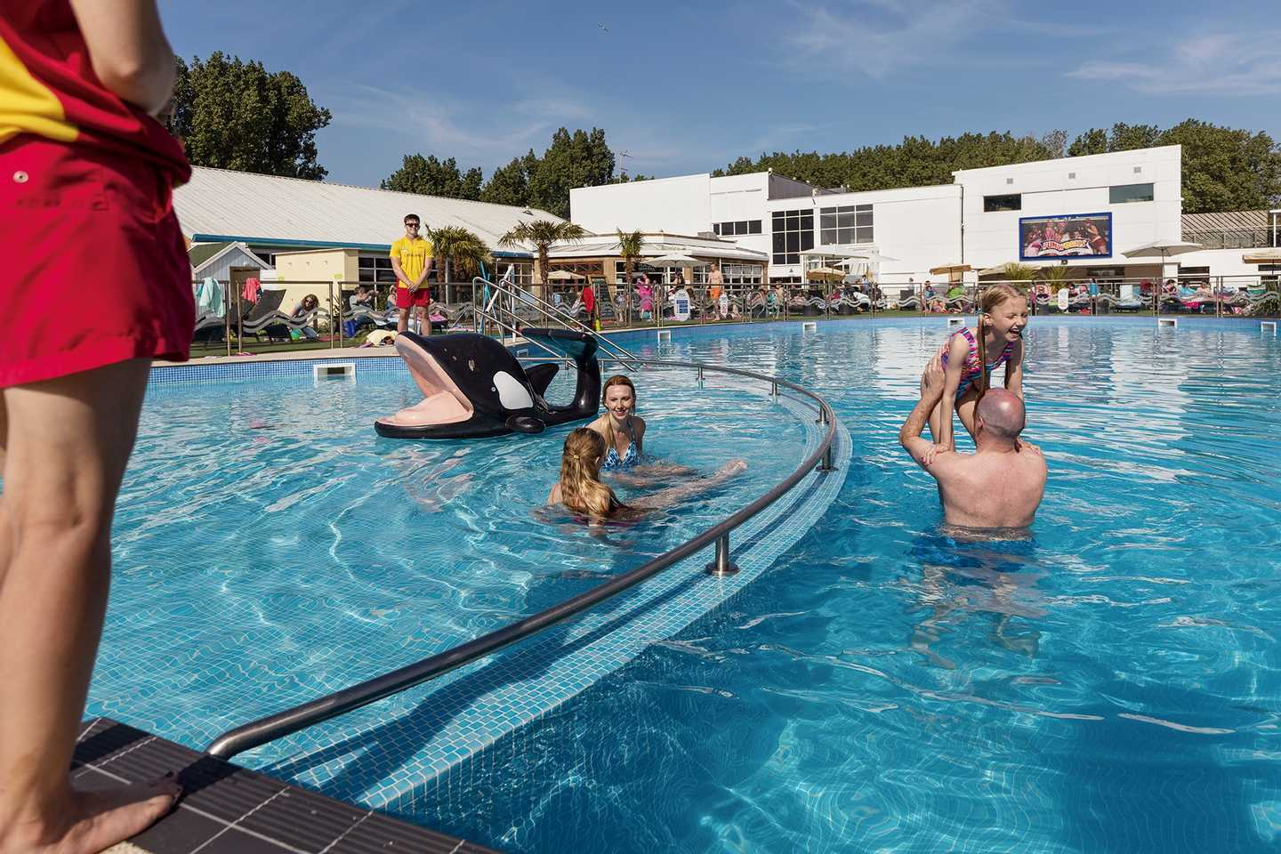 Guests enjoying the heated outdoor pool