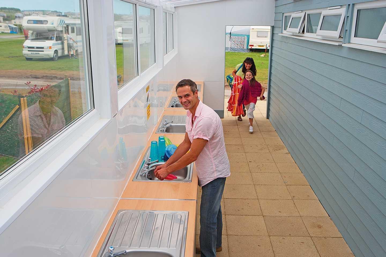 Covered dishwashing areas