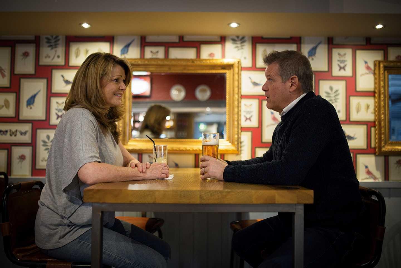 A couple in the Sandpiper restaurant
