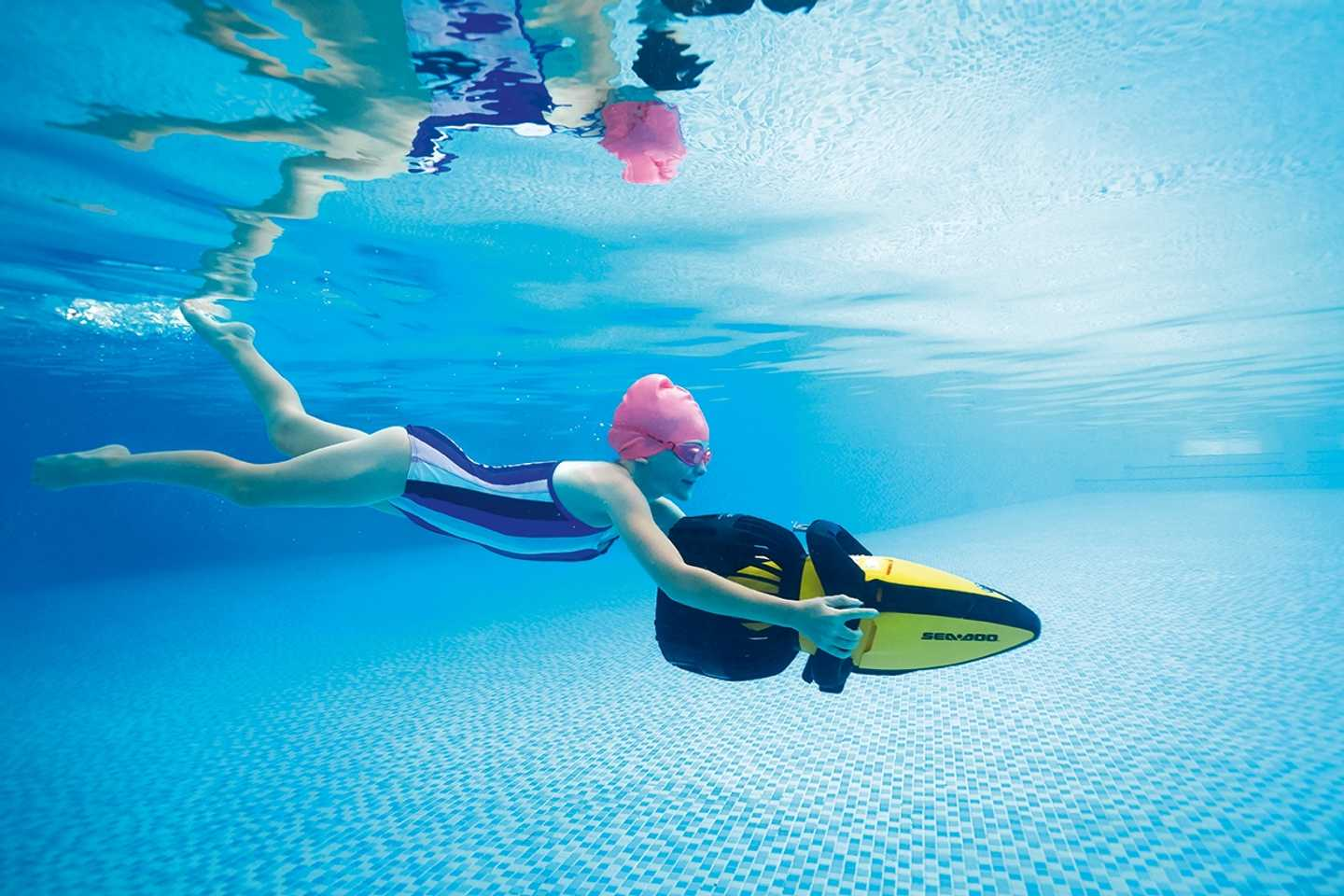 A guest underwater on an Aqua Jet
