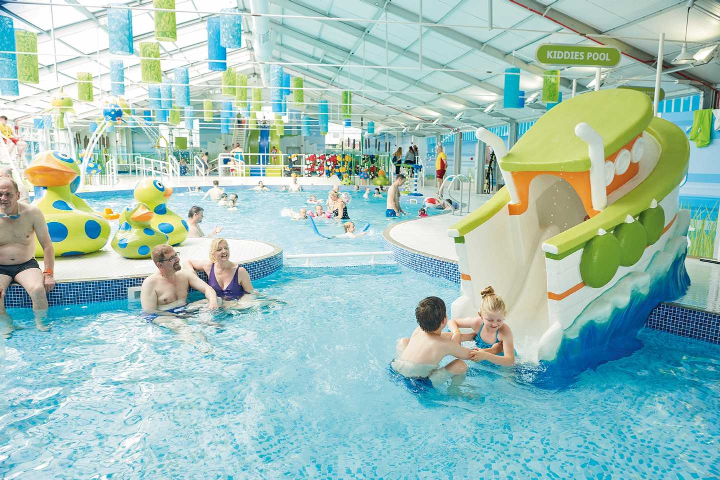 Guests in the indoor pool at Thornwick Bay