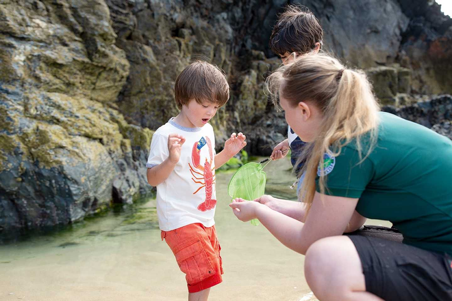 Boy doing rock pooling at our Nature Rockz activity