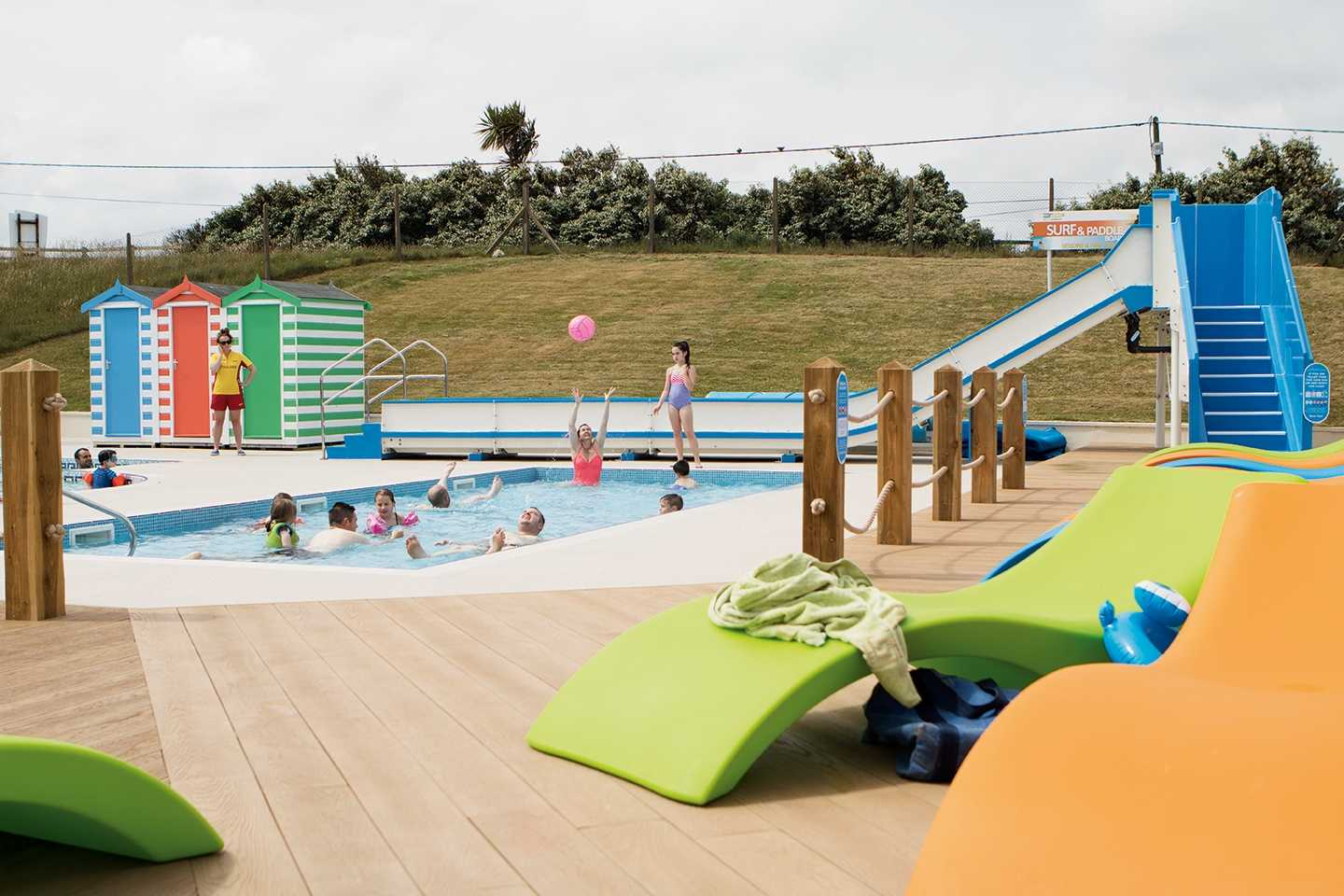 Lounge chairs by the outdoor pool
