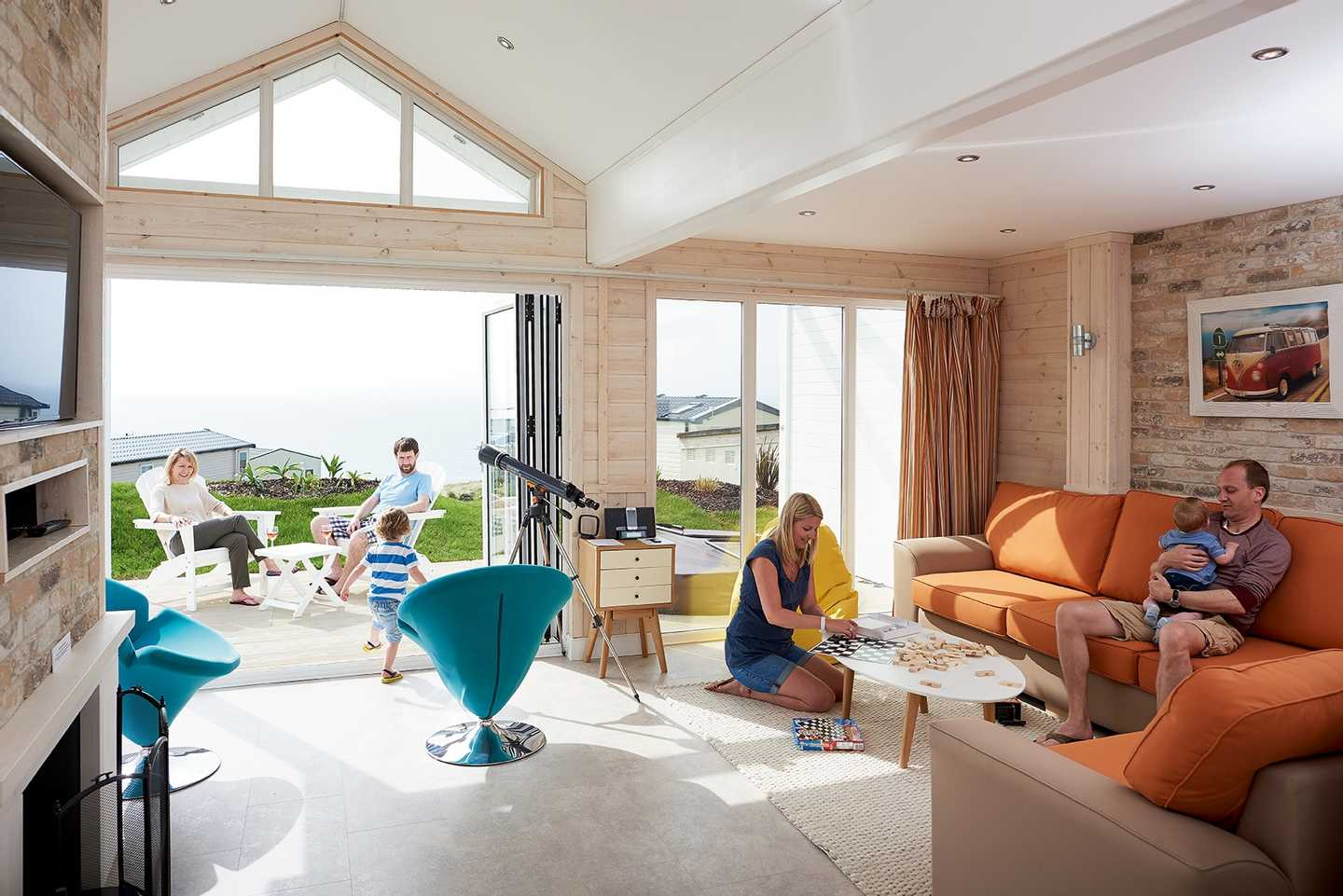 Family relaxing in a Beach House