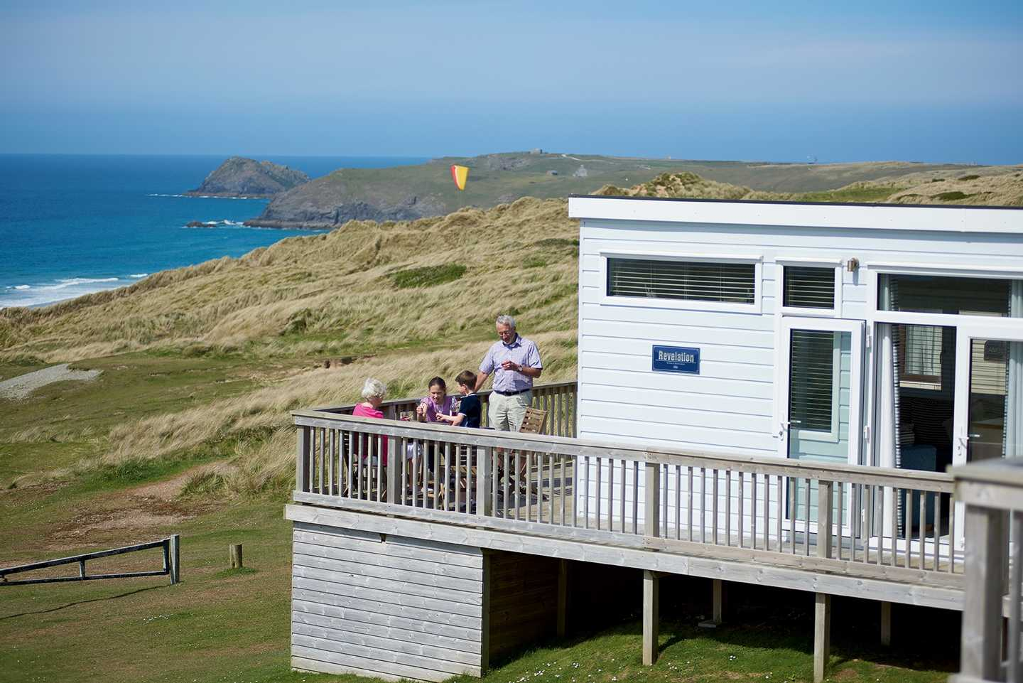 A holiday home with a sea view at Perran Sands in Cornwall
