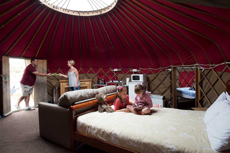 Interior of a Yurt at Perran Sands, Cornwall