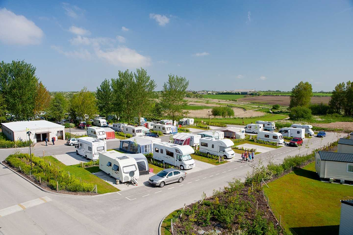 Motorhomes and tourers in the touring area