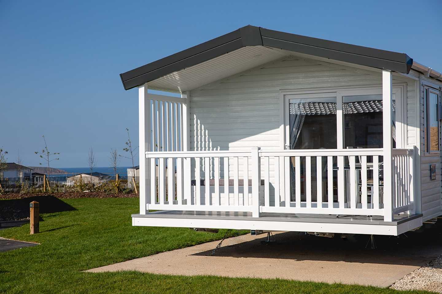 View of the exterior of the Platinum with decking at Seabirds