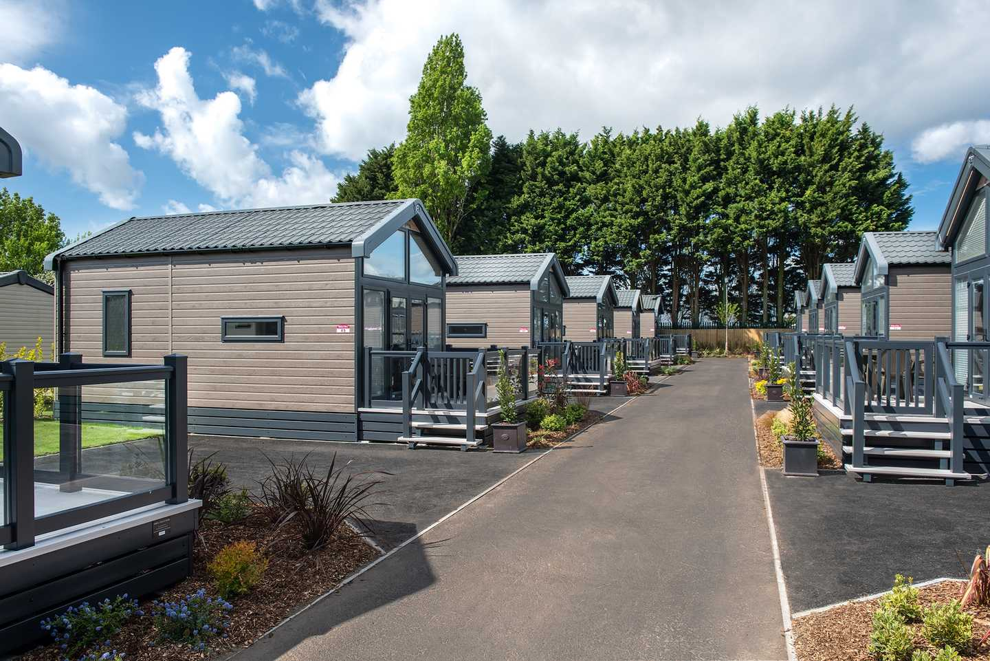 Example of the exterior view of a Luxury Pod at Rockley Park