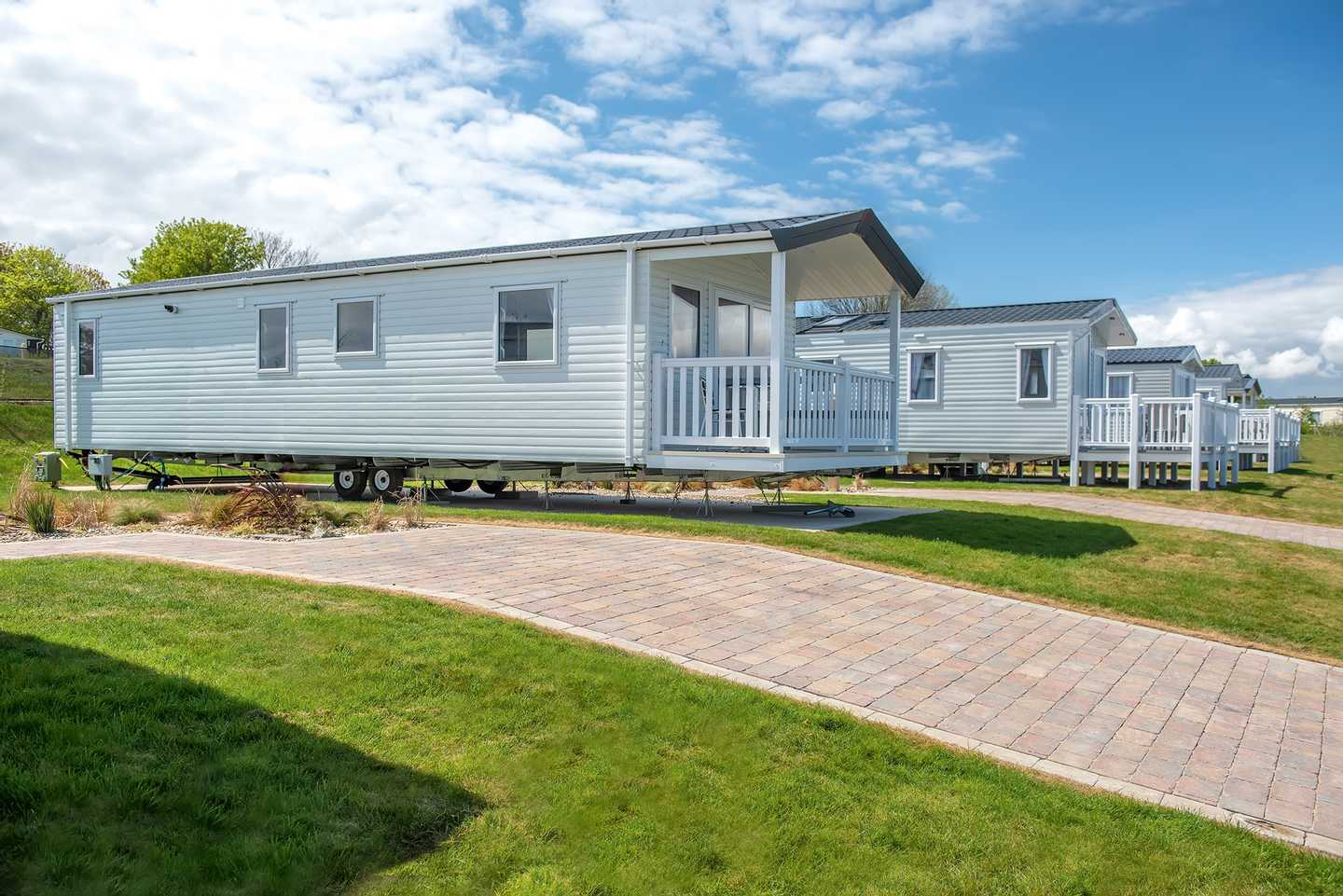 Prestige with decking at Lakeview, Allhallows