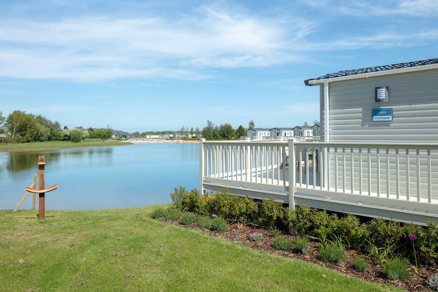 Lakeside Platinum with decking at Mucklethwaite, Lakeland