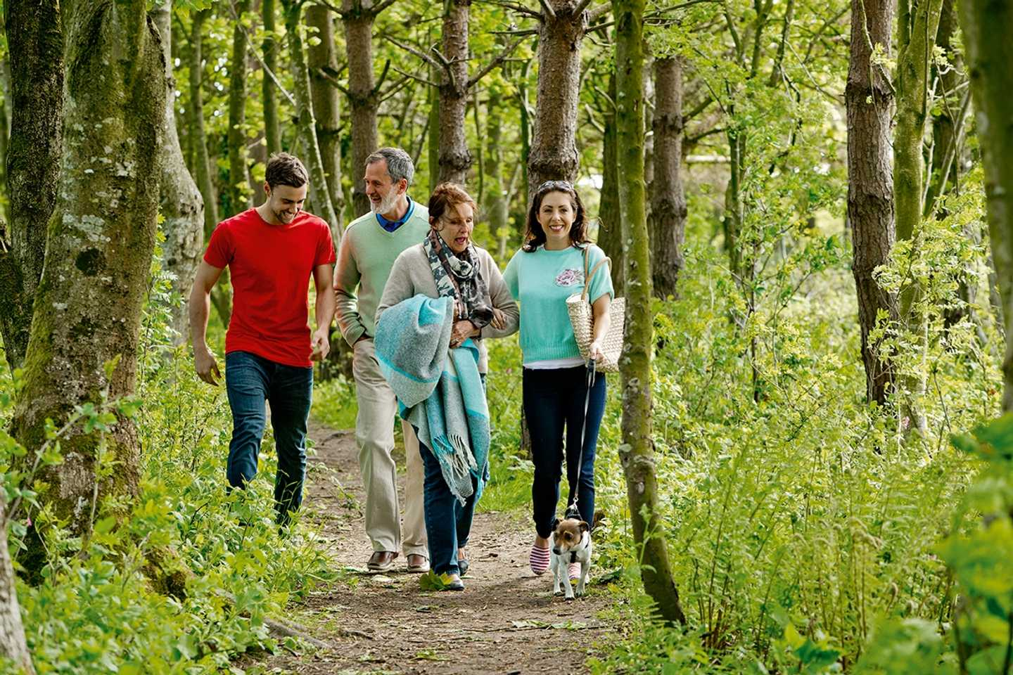 A family walking in the woods at Lakeland