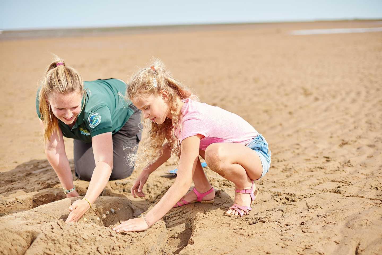 Family building a sand sculpture