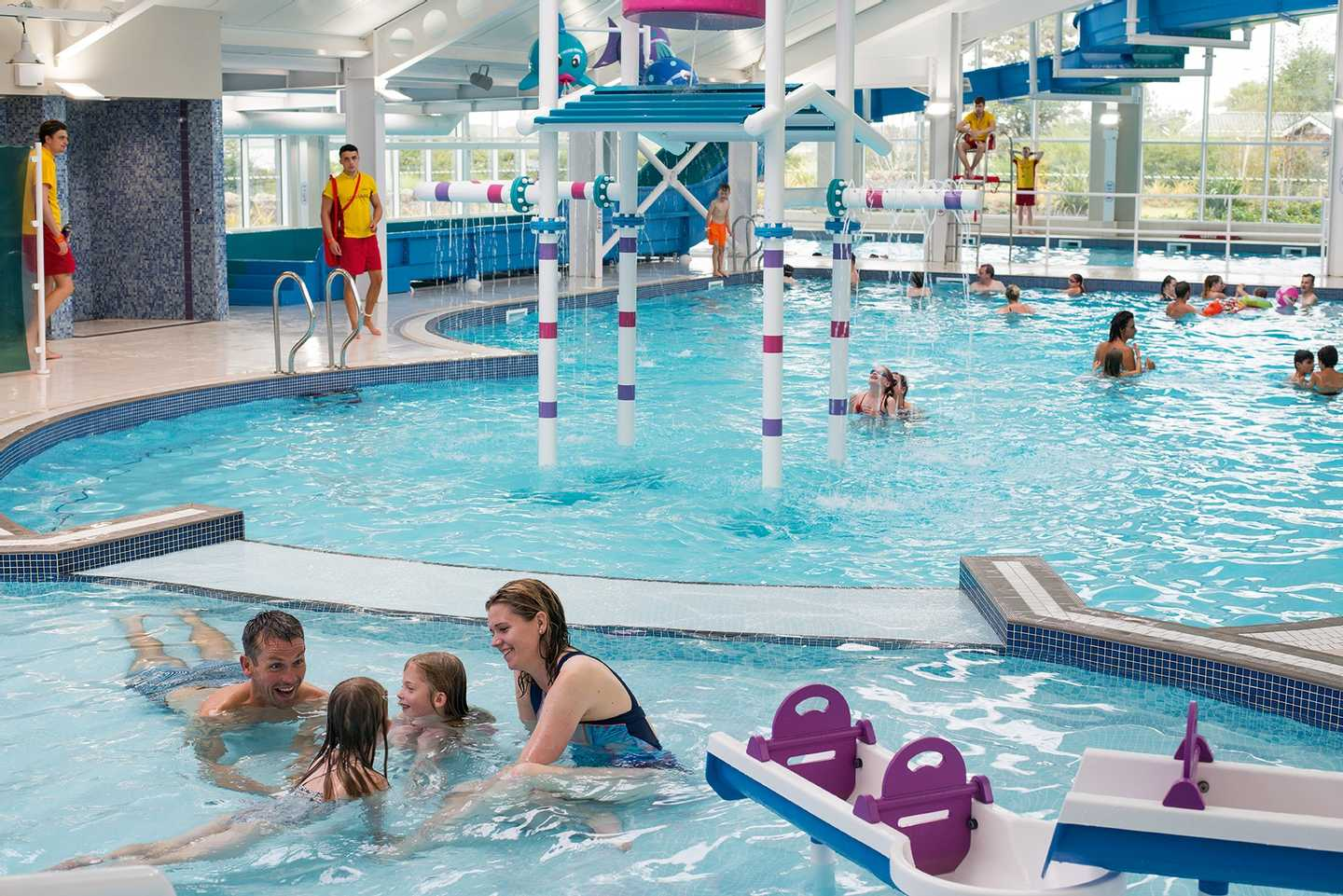 Family in the indoor pool at Seton Sands, Scotland