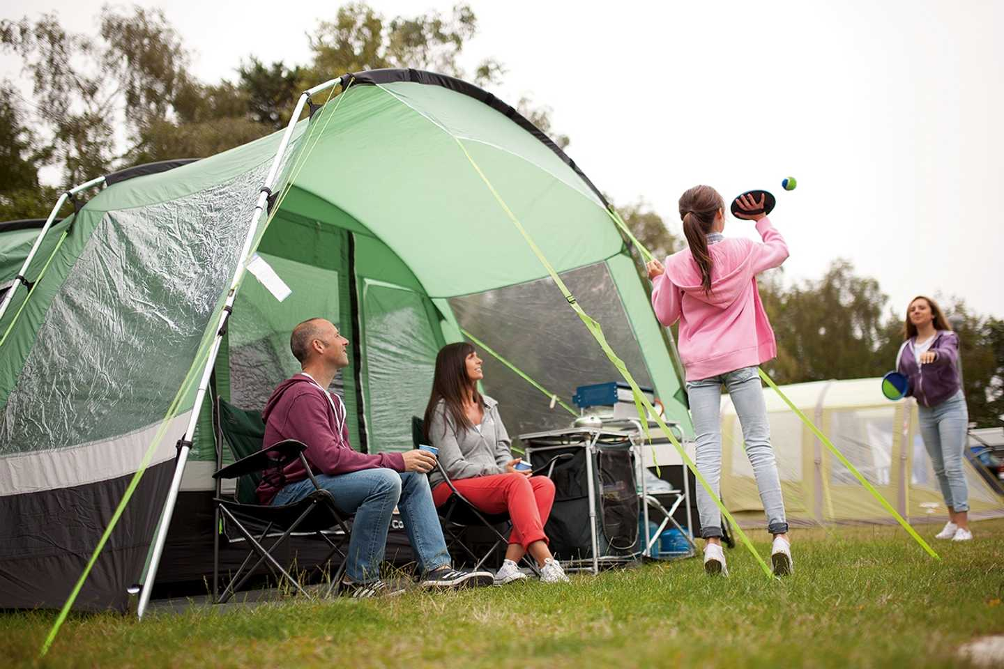 Guests outside their tent