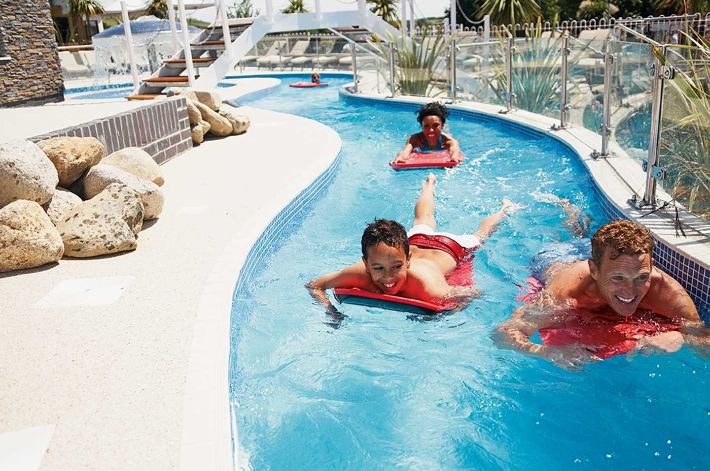 Children enjoying a swim in the lazy river