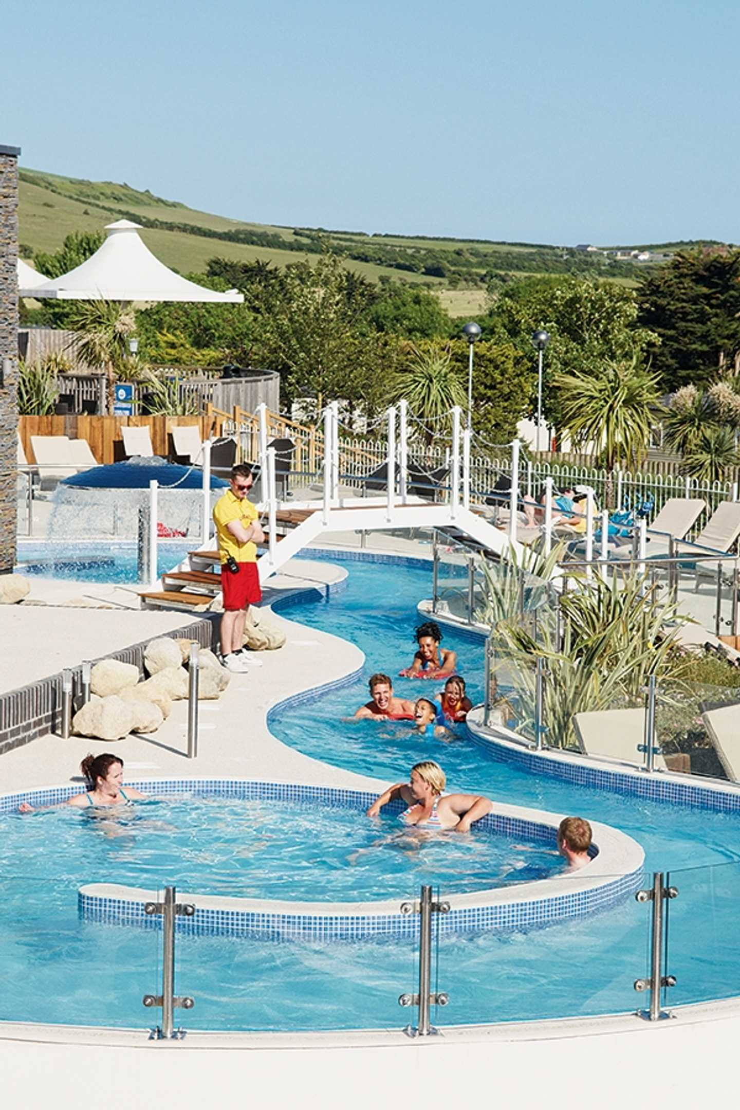 Guests floating down the lazy river at Weymouth Bay holiday park