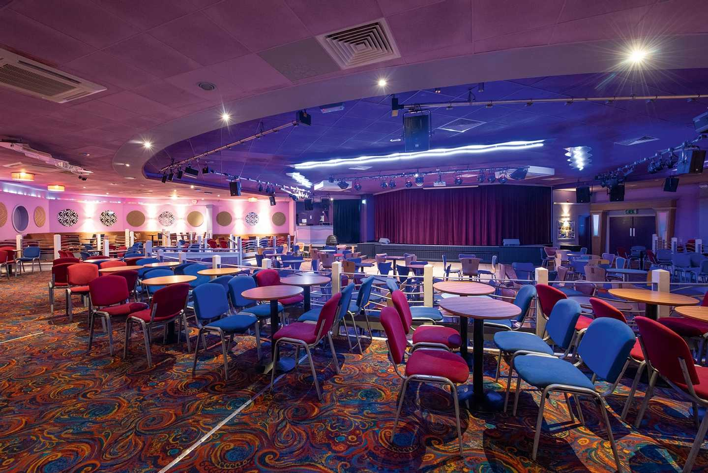 Live Lounge with multi-coloured lights and ample seating area
