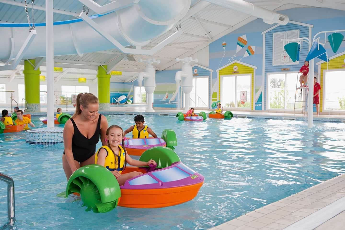 Aqua paddlers in the indoor swimming pool at Presthaven