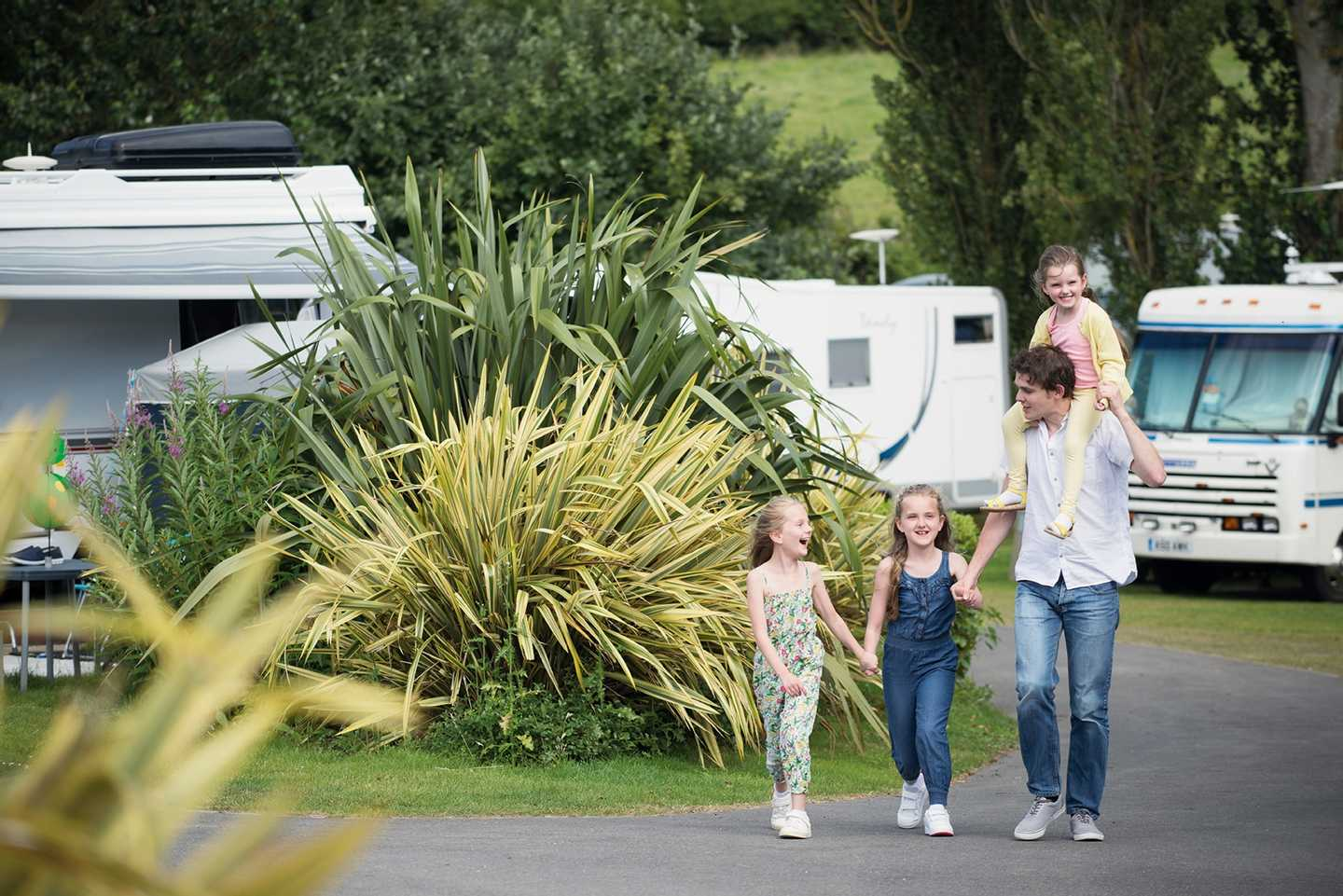 A family walking in the touring area at Seaview
