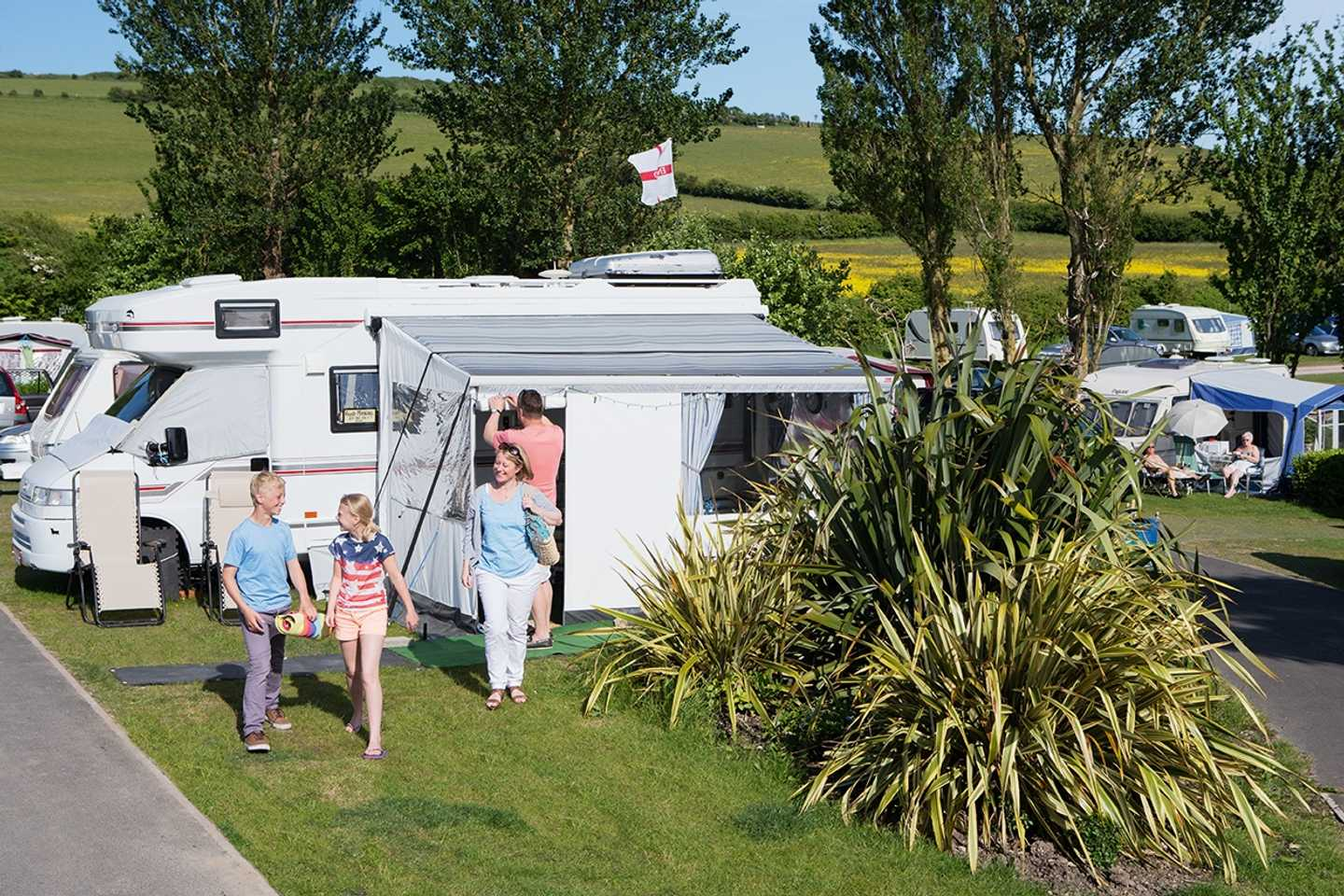 Guests outside their motorhome