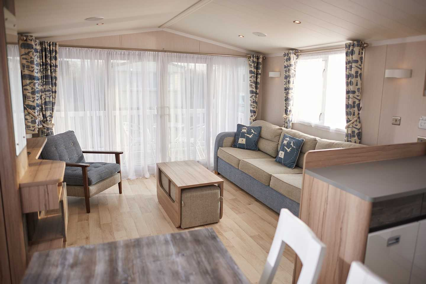 Kitchen and lounge area in a Platinum caravan