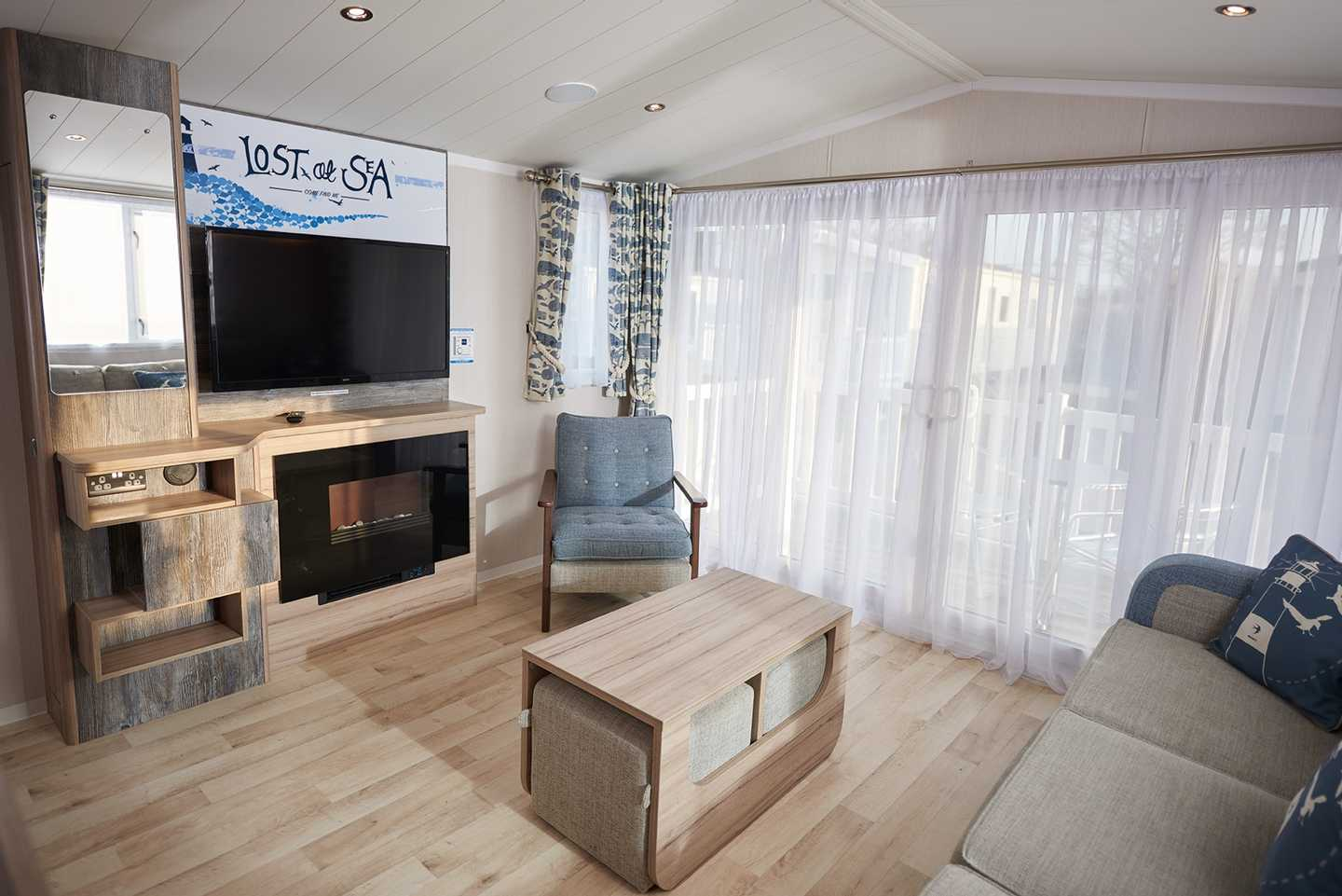 An example of the lounge in a Platinum with decking caravan