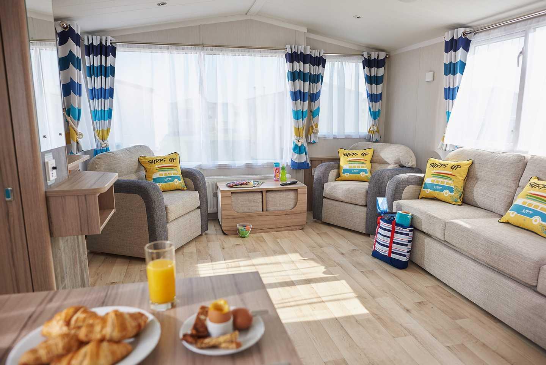 A spacious and light Prestige caravan living room