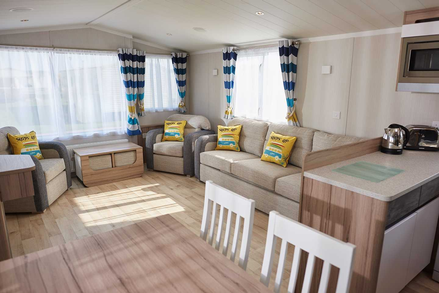 Prestige caravan kitchen and lounge at Caister on Sea