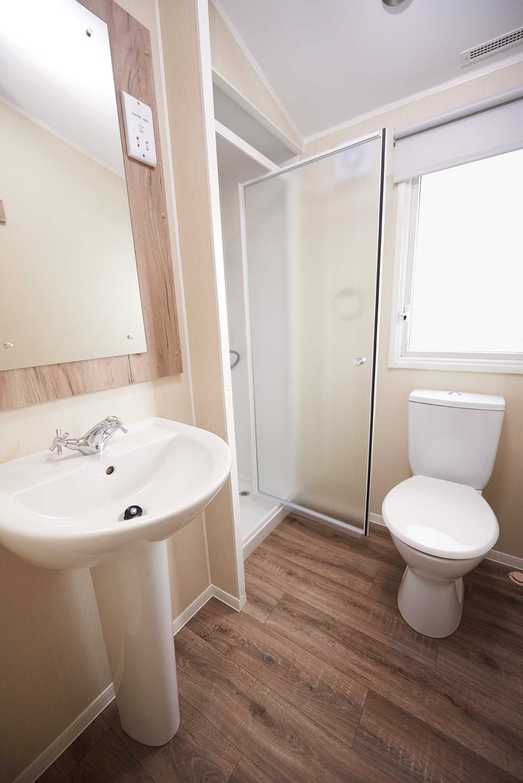 The bathroom in a Standard caravan