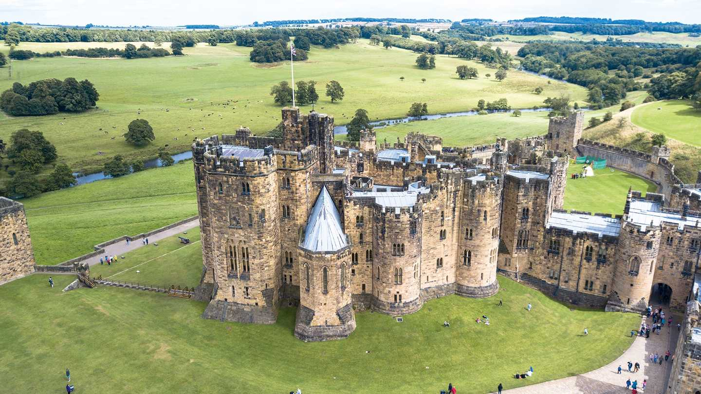 Aerial view of Alnwick Castle